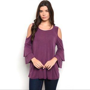 Plum Ruffle Sleeve Shirt